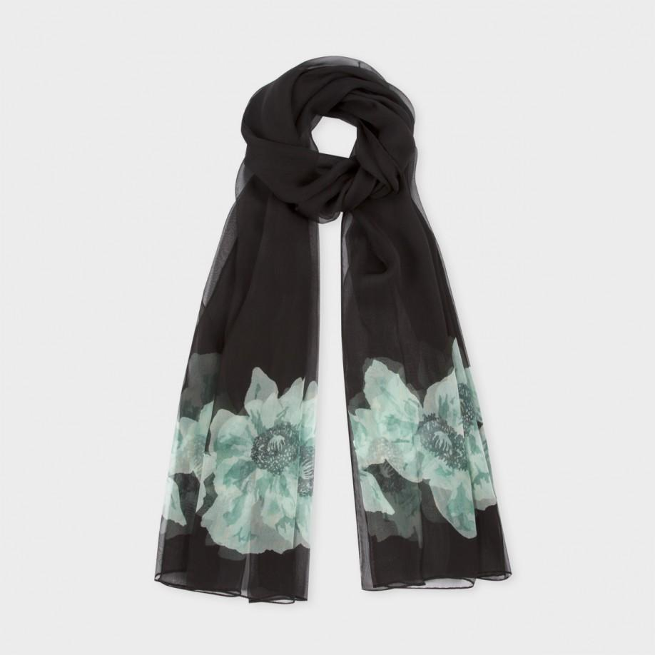 paul smith s black silk georgette anemone floral