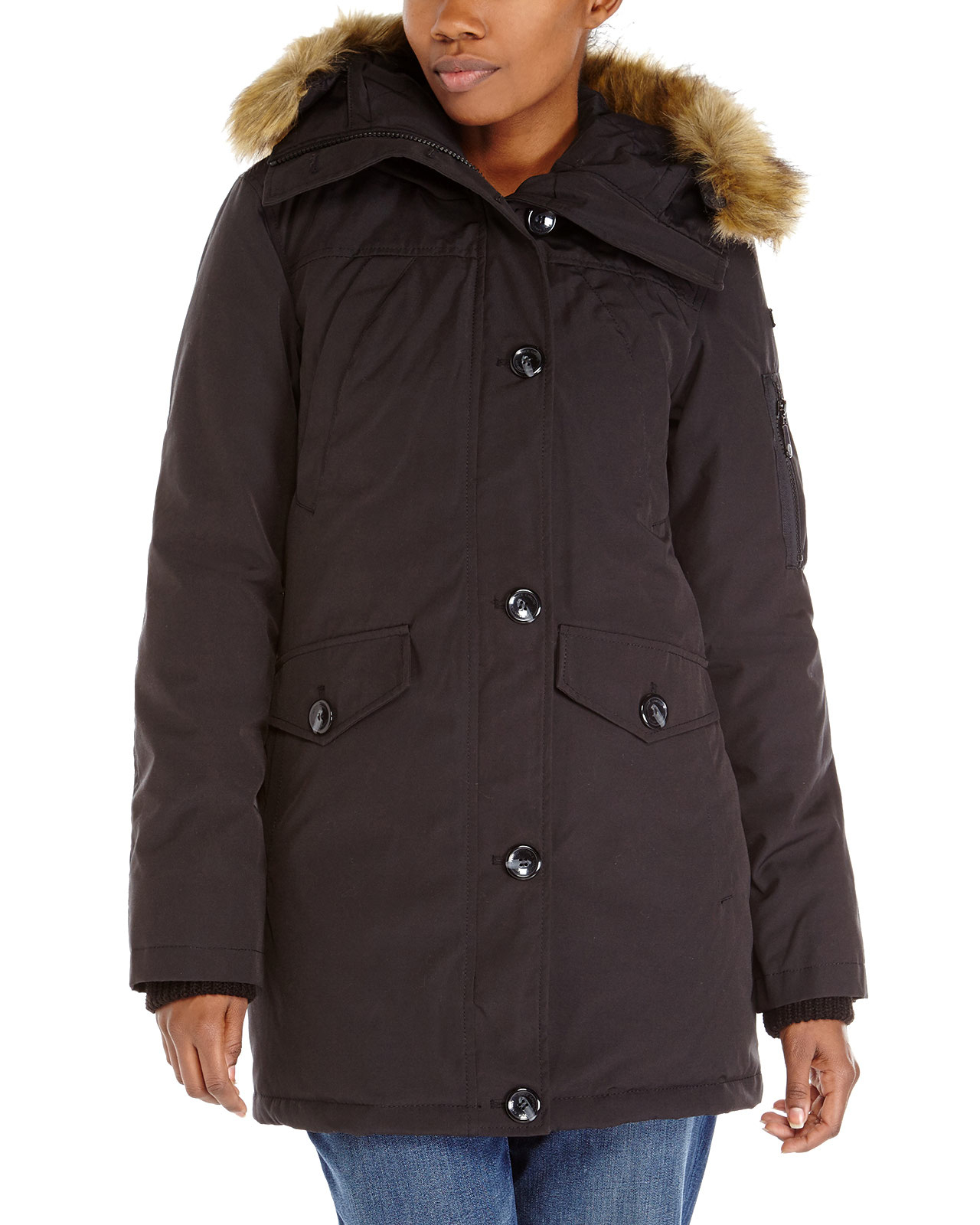 Vince Camuto Faux Fur Trim Hooded Coat In Black Lyst