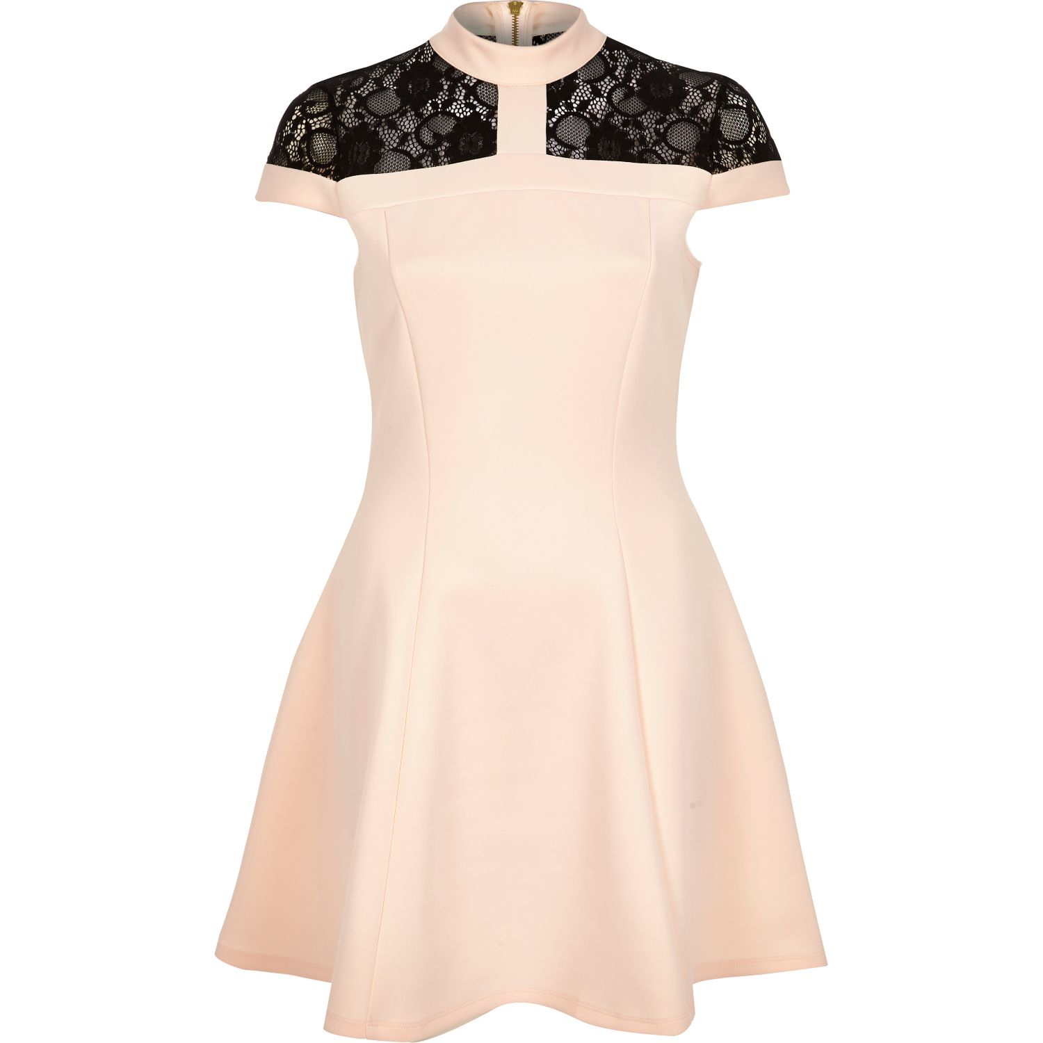 682cd4a08584a River Island Pink Lace Panel Scuba Skater Dress in Pink - Lyst