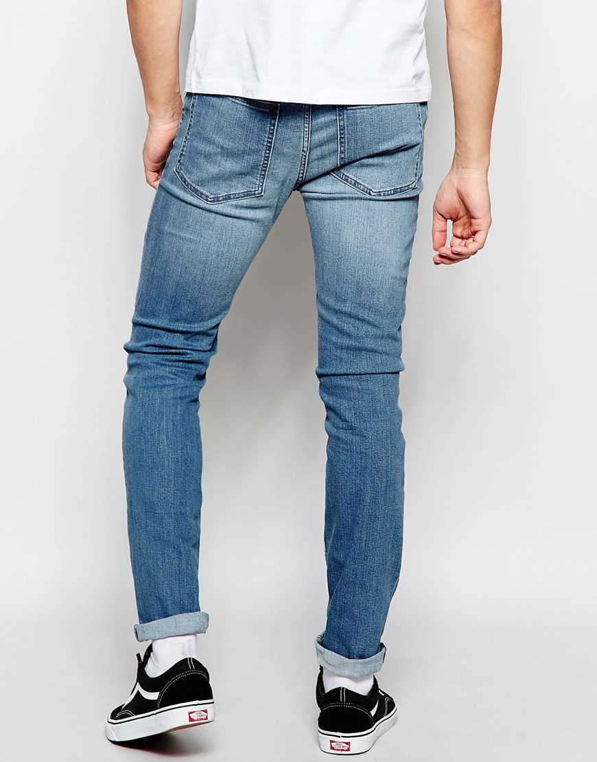cheap monday jeans tight stretch skinny fit blue wave. Black Bedroom Furniture Sets. Home Design Ideas