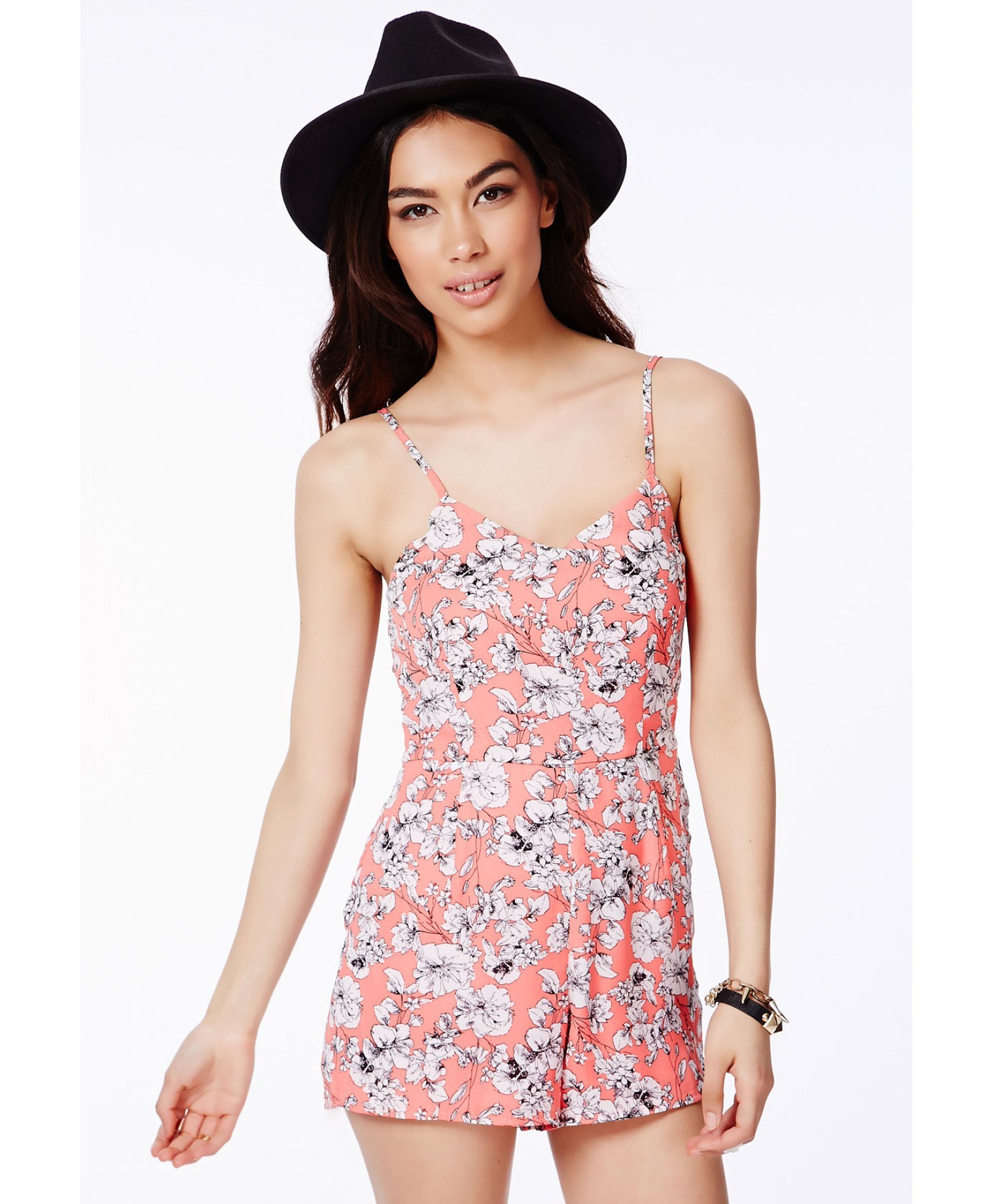 River Island Cami Playsuit In Floral Print