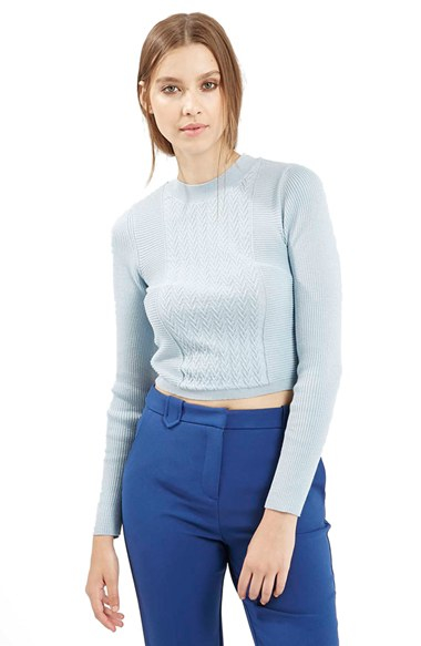 Lyst Topshop Long Sleeve Knit Crop Top In Blue