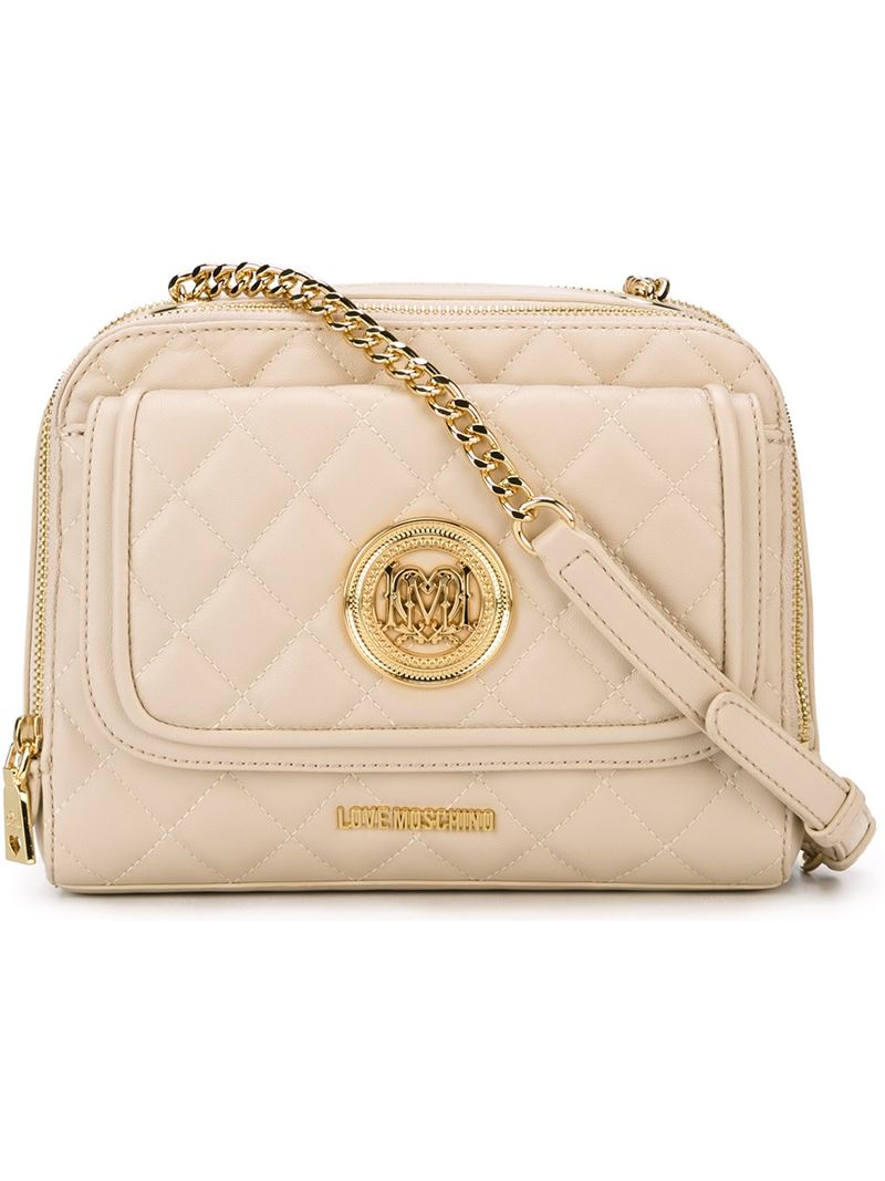 a14130bba295 Lyst - Love Moschino Small Quilted Cross Body Bag in Natural