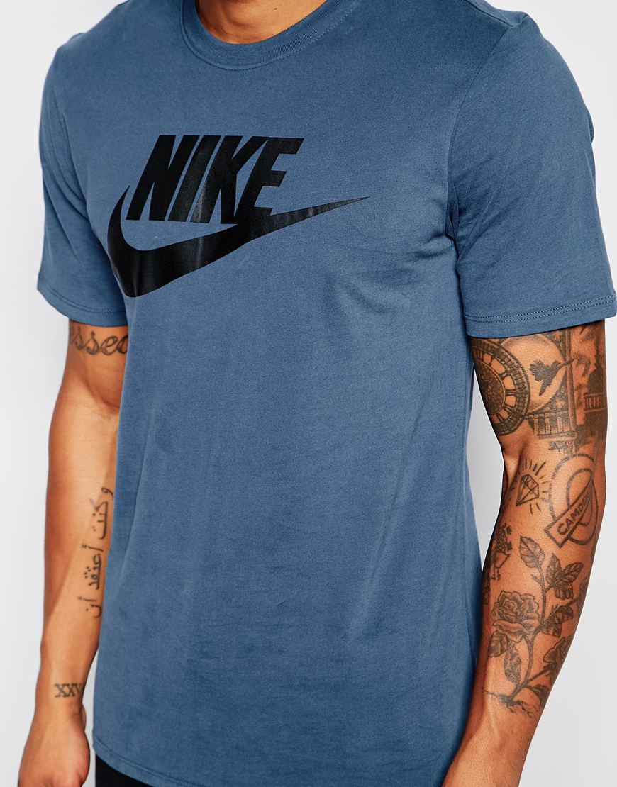 Nike futura t shirt with large logo 696707 460 in blue for for Navy blue and white nike shirt