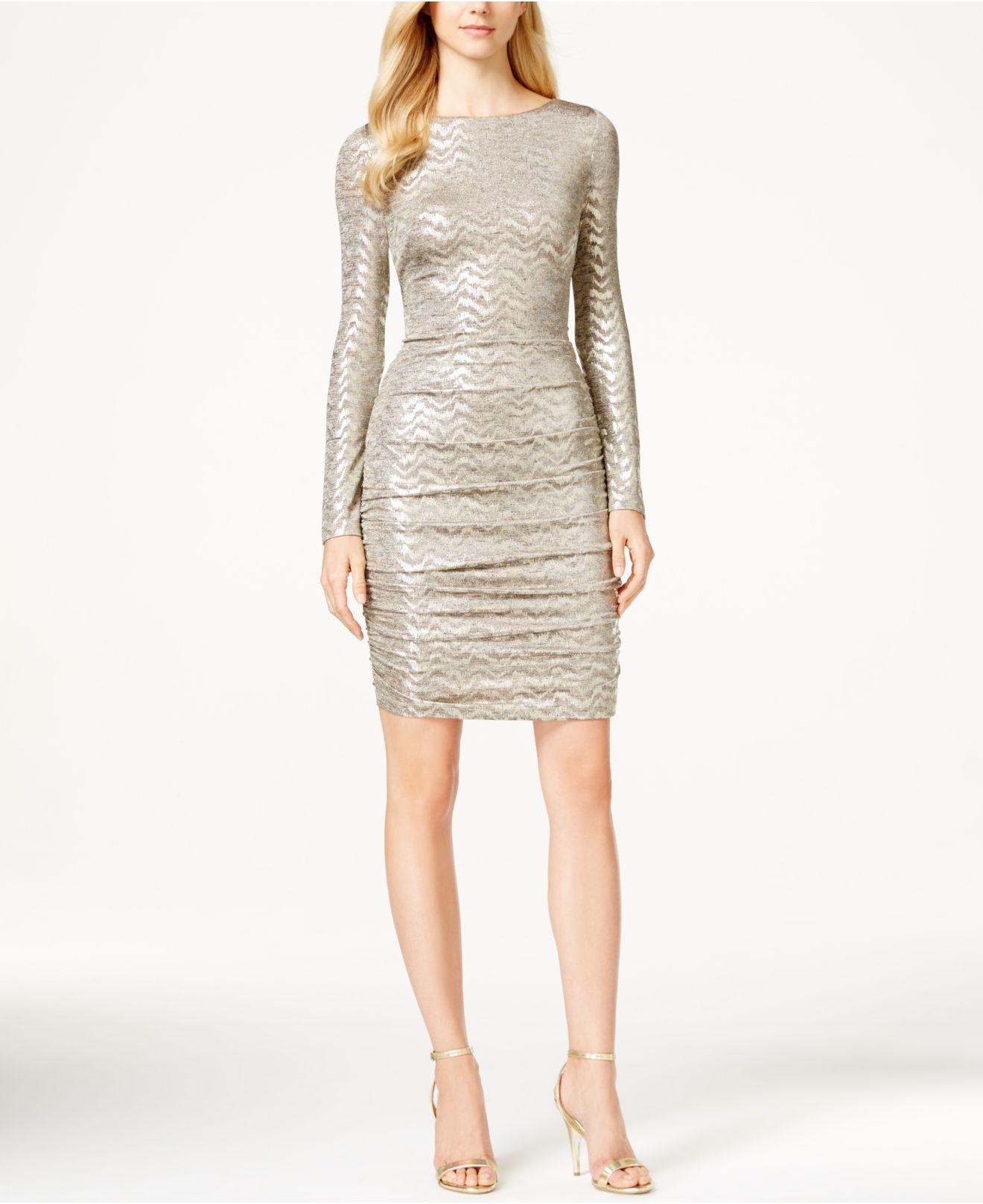 vince camuto metallicknit sheath dress in metallic lyst