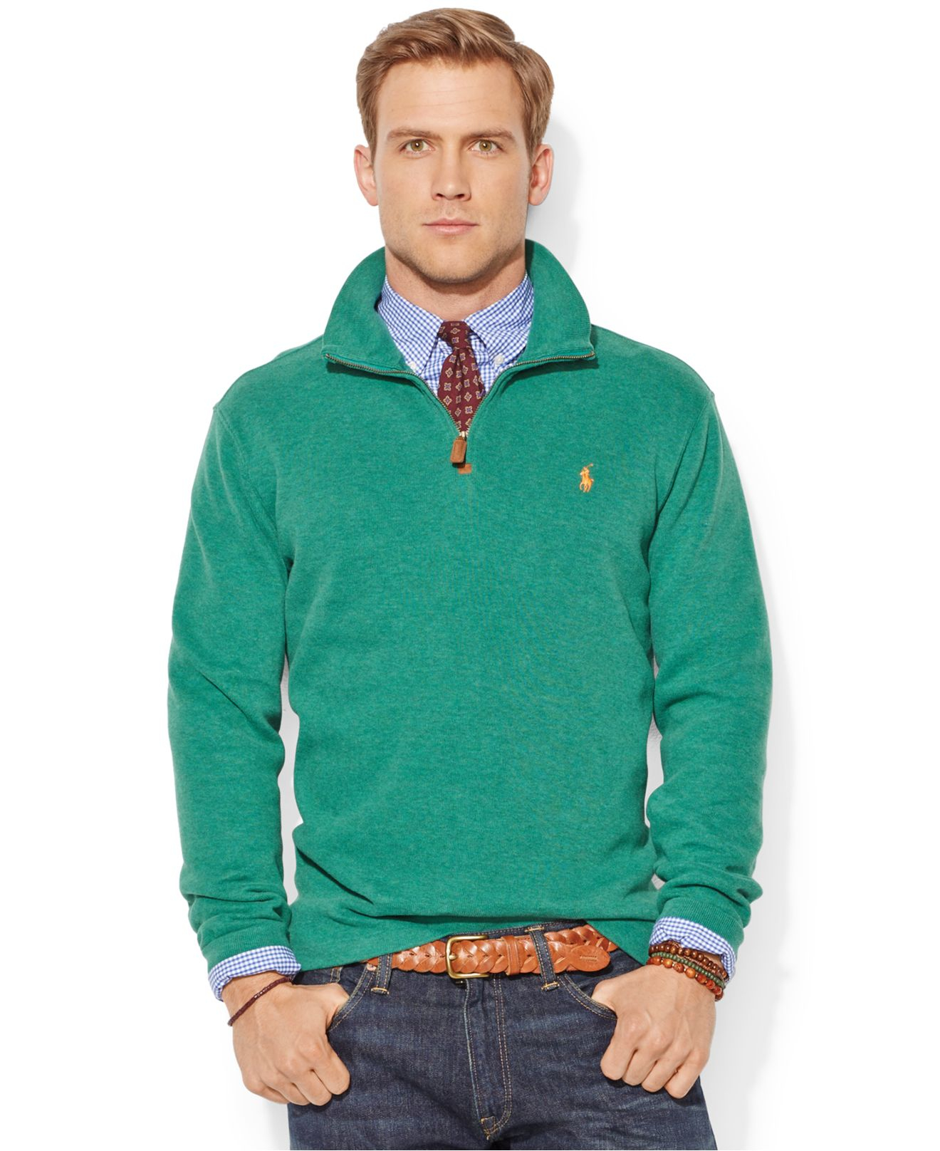 polo ralph lauren green french rib half zip pullover sweater for men. Black Bedroom Furniture Sets. Home Design Ideas