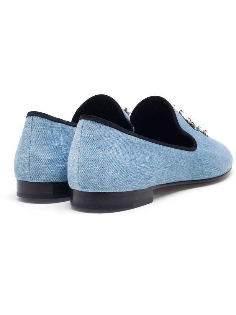 433d23fae195f Giuseppe Zanotti Crystal Skull Loafers in Blue for Men - Lyst