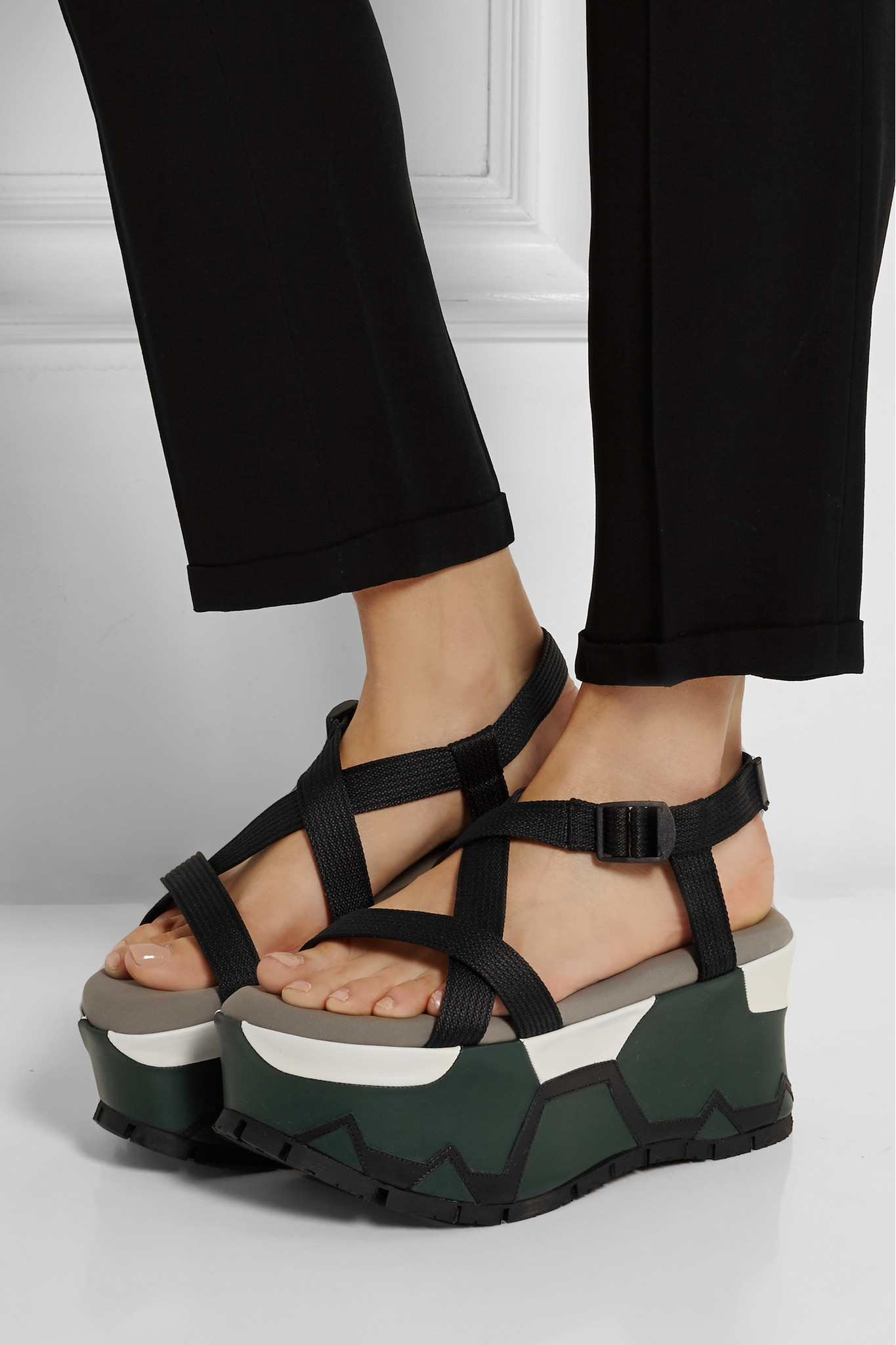 Lyst Marni Canvas Platform Sandals In Black