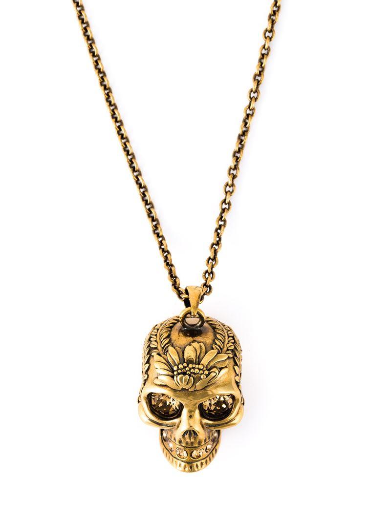 a4663a122186aa Lyst Alexander Mcqueen Skull Pendant Necklace In Metallic