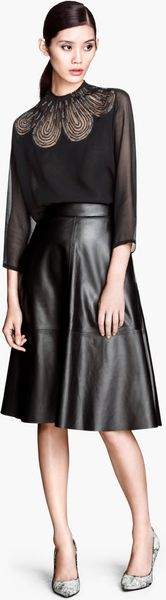 h m leather skirt in black lyst