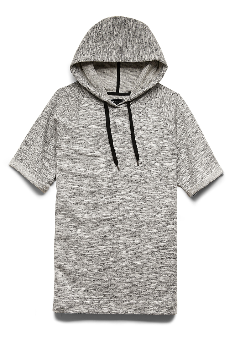 Forever 21 Short-sleeve Marled Hoodie in Gray for Men | Lyst