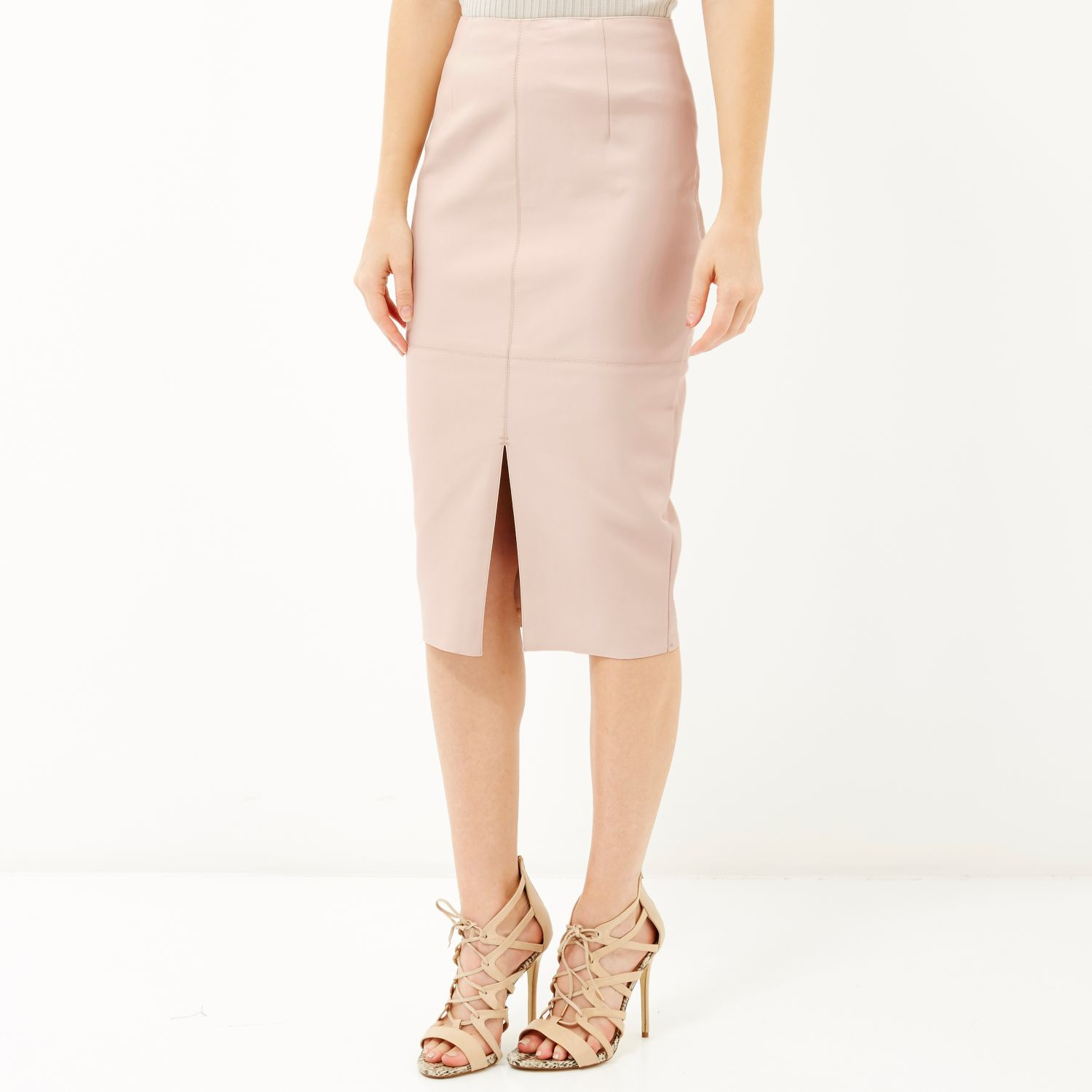 river island pink leather look split front pencil skirt in