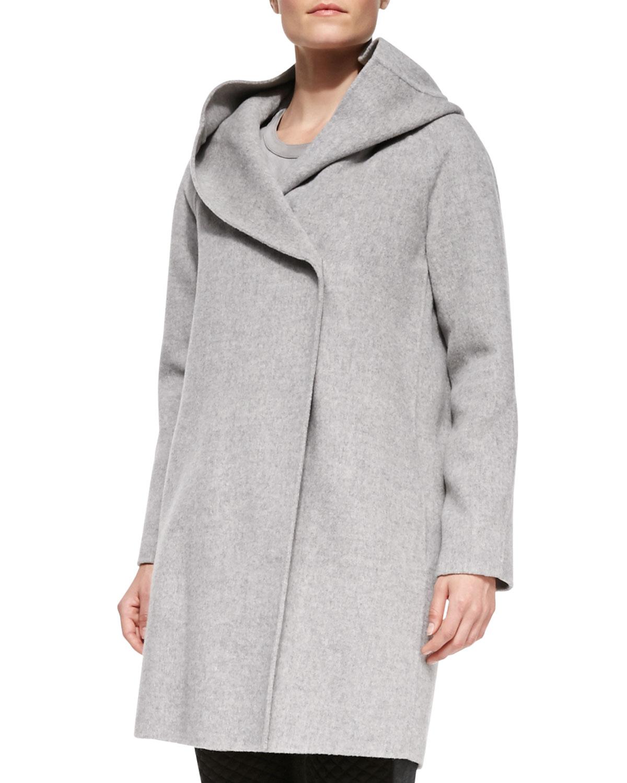 Vince Wool-Blend Hooded Coat in Gray | Lyst