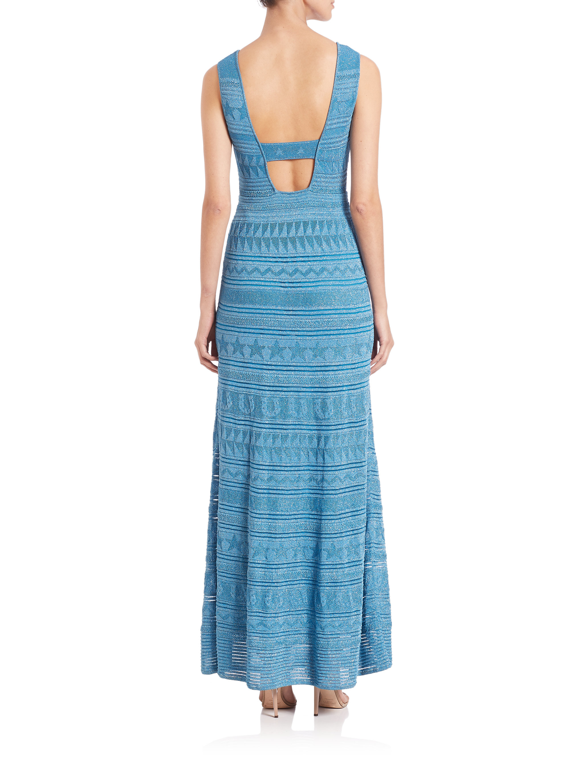 M missoni Lurex Stretch Maxi Dress in Blue | Lyst