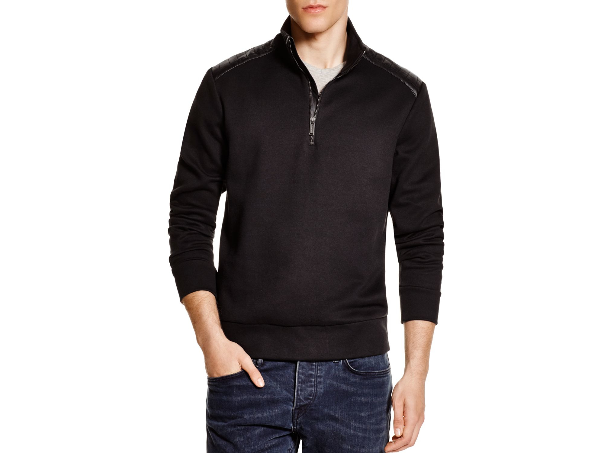 Michael kors Cotton Leather Trim Half Zip Sweater in Black for Men ...