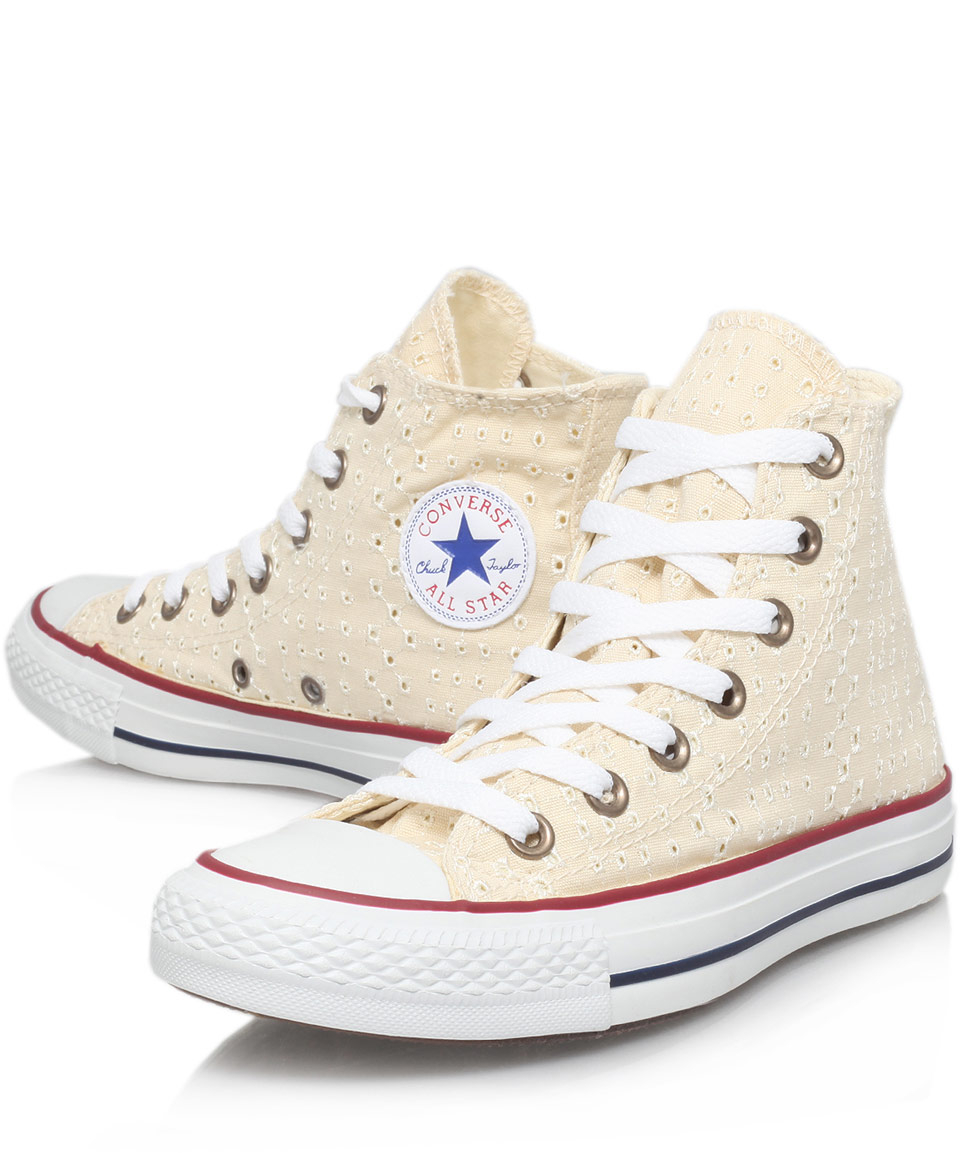 Lyst - Converse Cream Eyelet Print Chuck Taylor Hi Top Trainers in ... 308ee2a5c