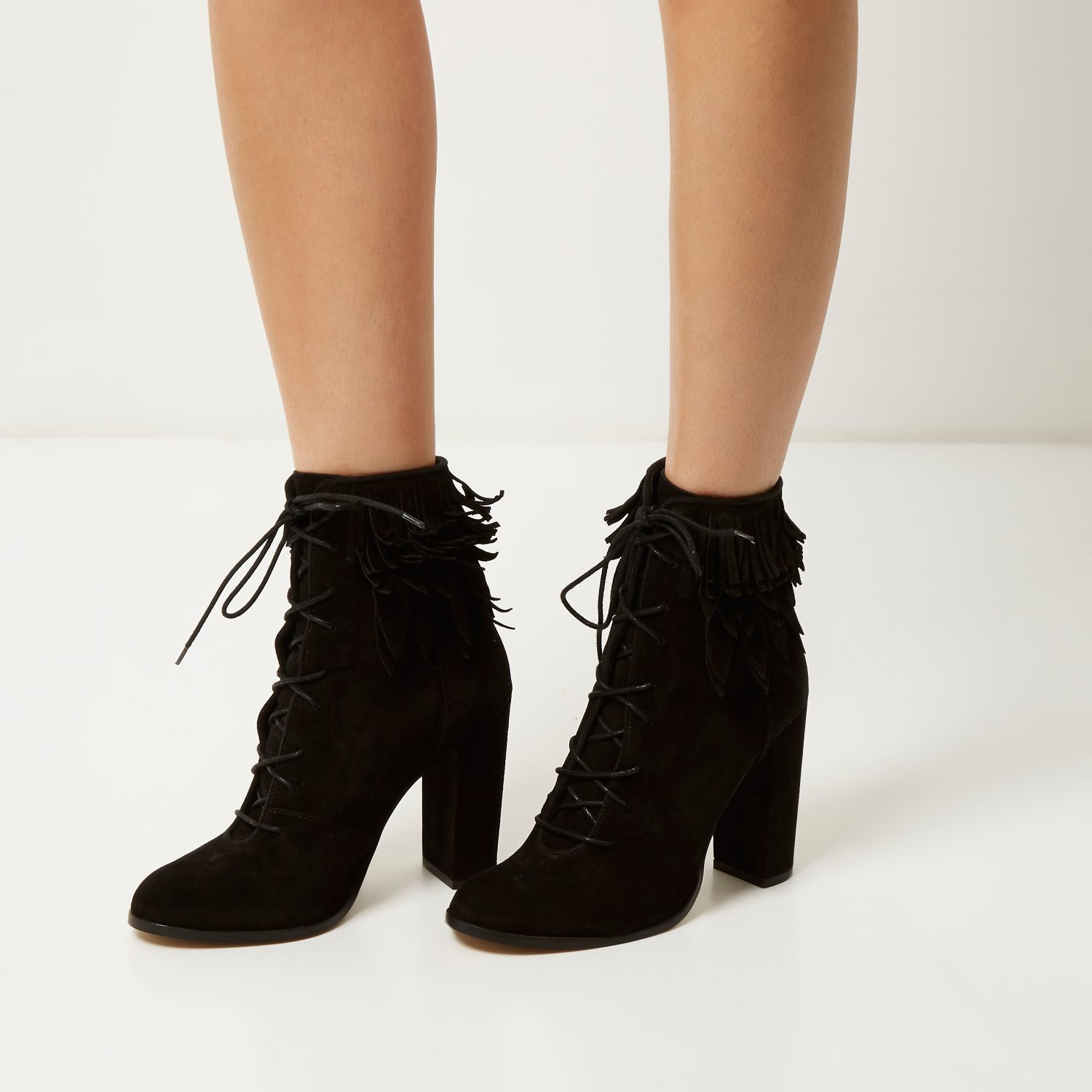 River island Black Suede Lace-up Fringed Heeled Boots in Black | Lyst
