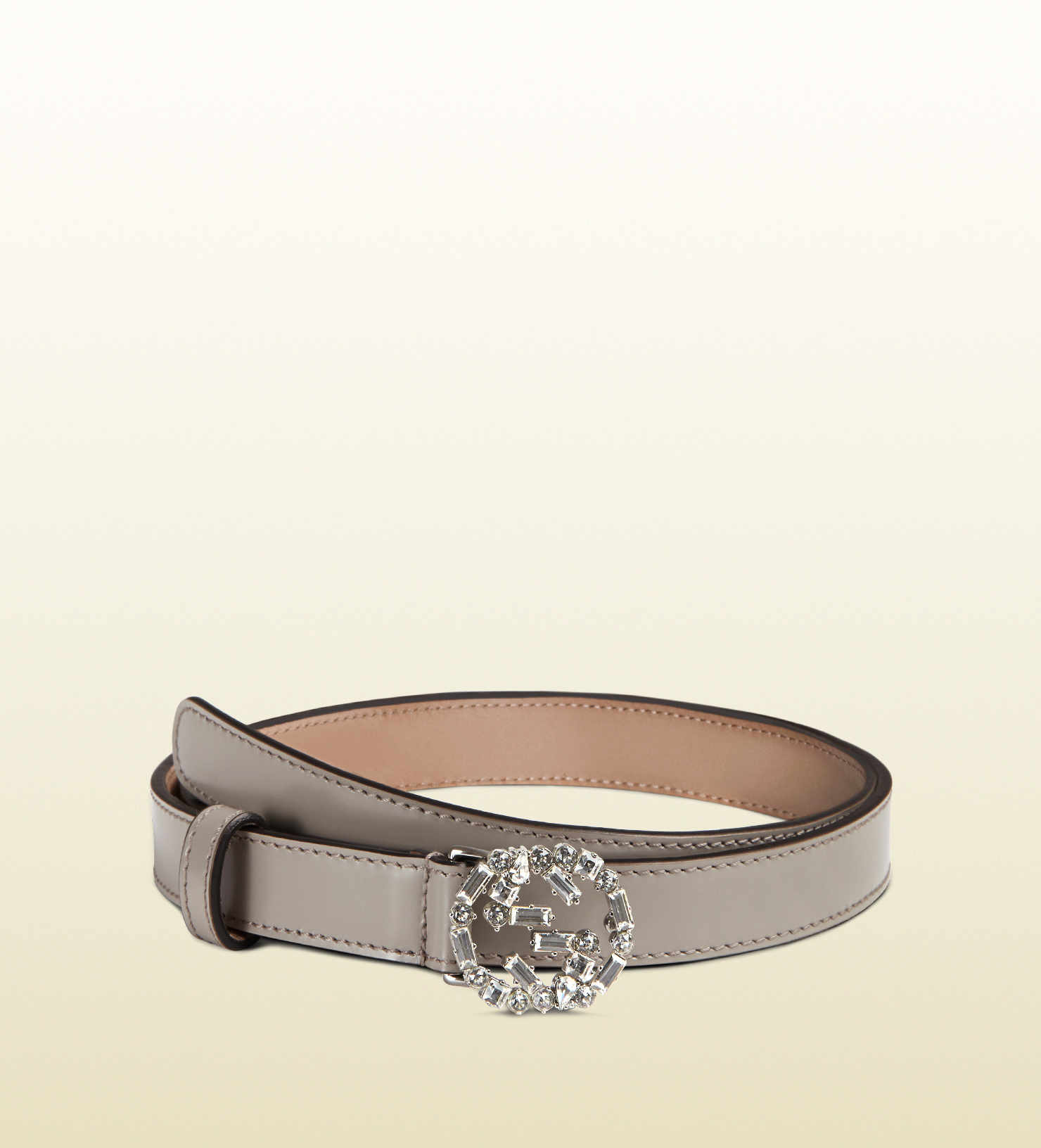 0648db64e284 Lyst - Gucci Thin Leather Belt With Crystal Interlocking G Buckle in ...
