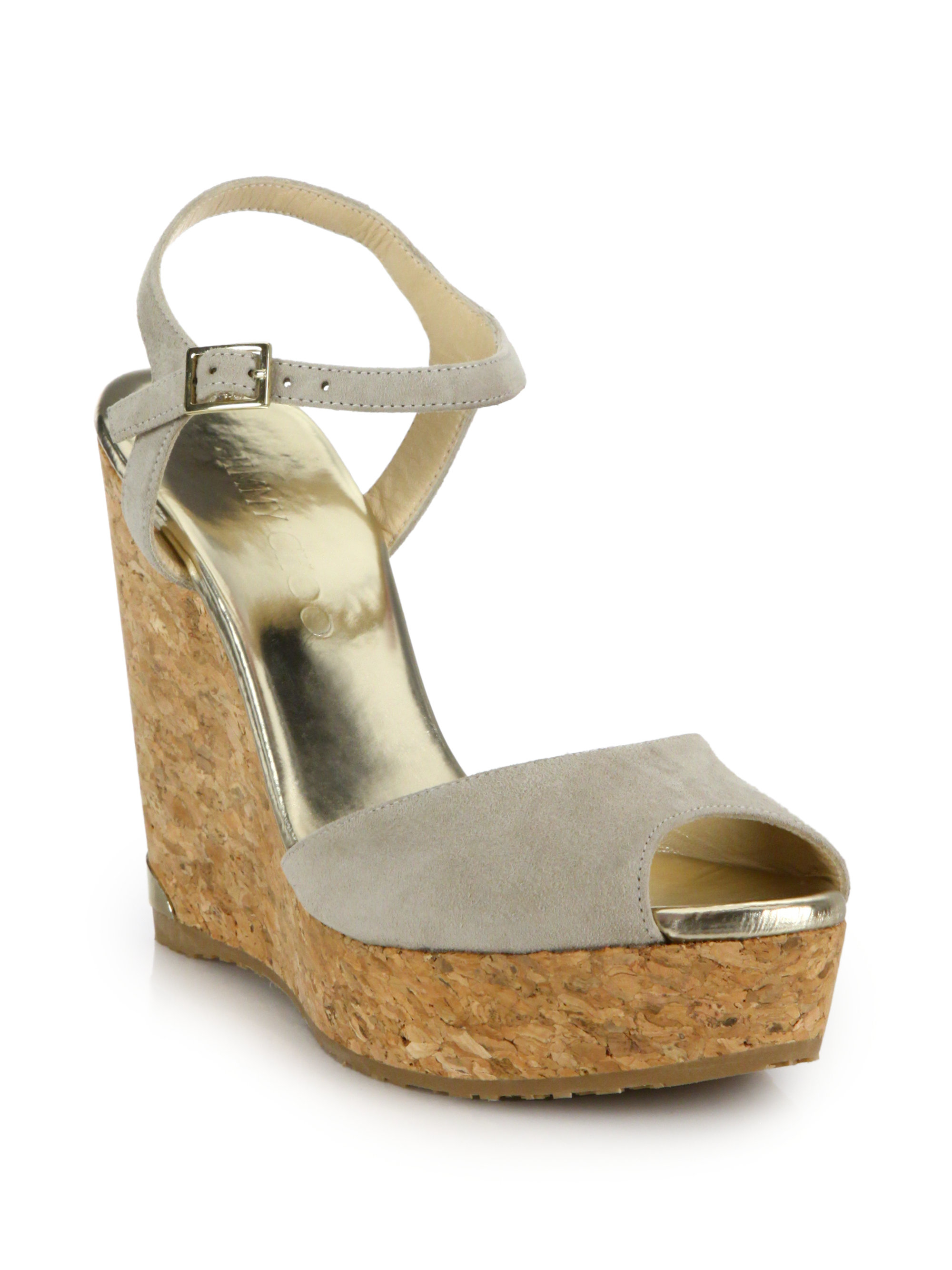 c721f61f843d Lyst - Jimmy Choo Perla Suede   Cork Platform Wedge Sandals in Natural