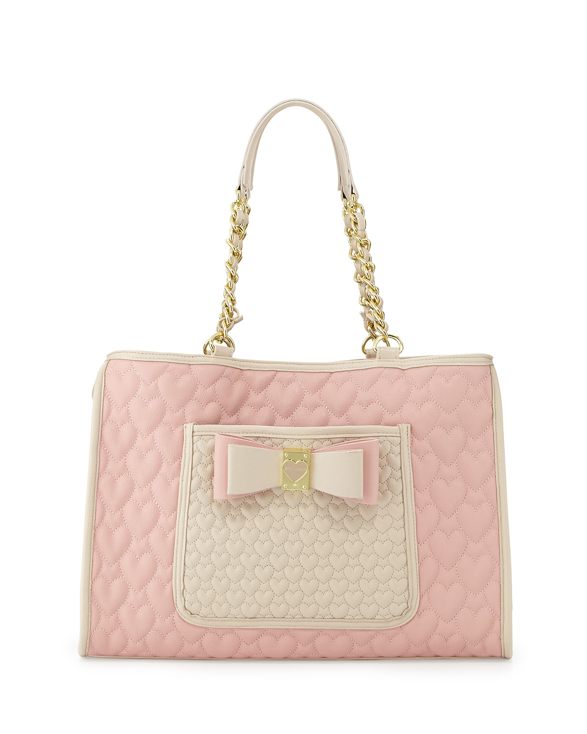 Lyst Betsey Johnson Twotone Quilted Heart Tote Bag Blush