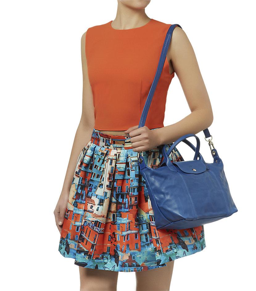 87592f73e5d2 Longchamp Le Pliage Cuir Small Handbag in Blue - Lyst