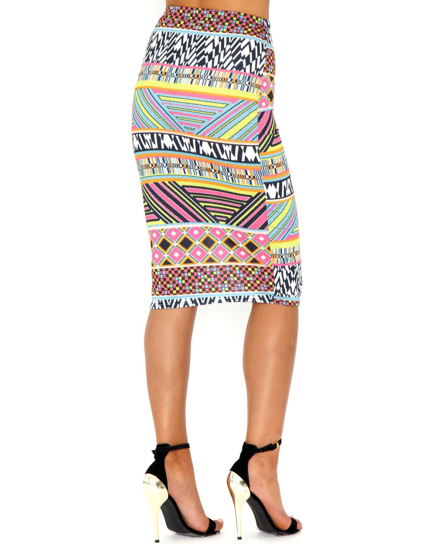 missguided verene aztec print midi skirt in multicolor lyst