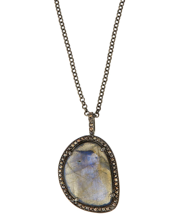Bavna Labradorite and Turquoise Pendant Necklace Dt3hKheC