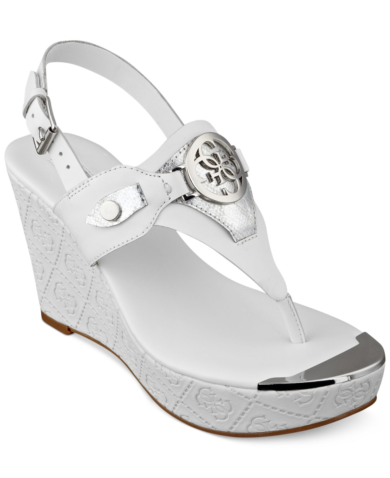 f16448e998 Guess Marcina Platform Wedge Thong Sandals in White - Lyst