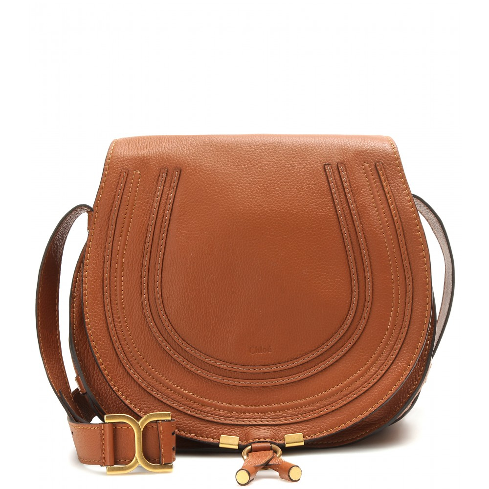 Chlo¨¦ Marcie Leather Shoulder Bag in Brown | Lyst