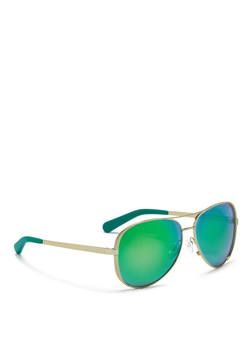 de22b600a8 Lyst - Michael Kors  chelsea  Coated Metal Mirror Aviator Sunglasses ...