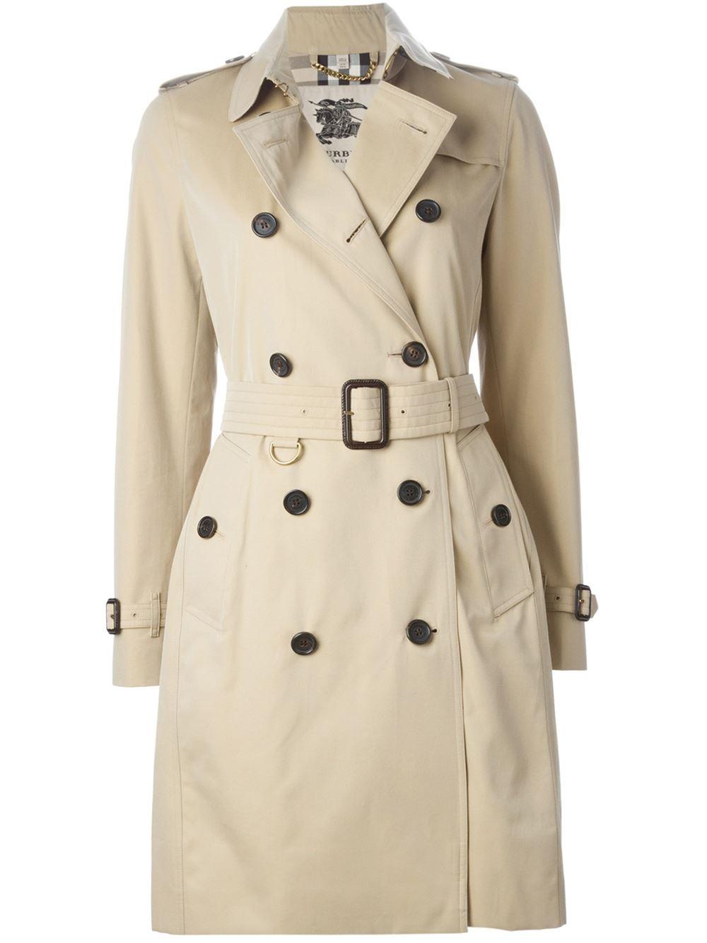 burberry 39 kensington 39 belted trench coat in beige nude. Black Bedroom Furniture Sets. Home Design Ideas