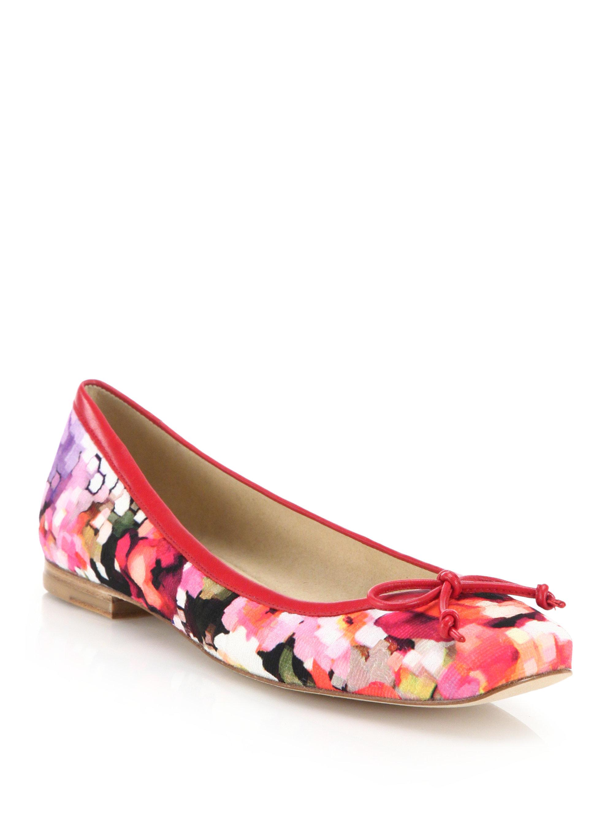 Stuart Weitzman Shoestring Floral Print Ballet Flats Lyst