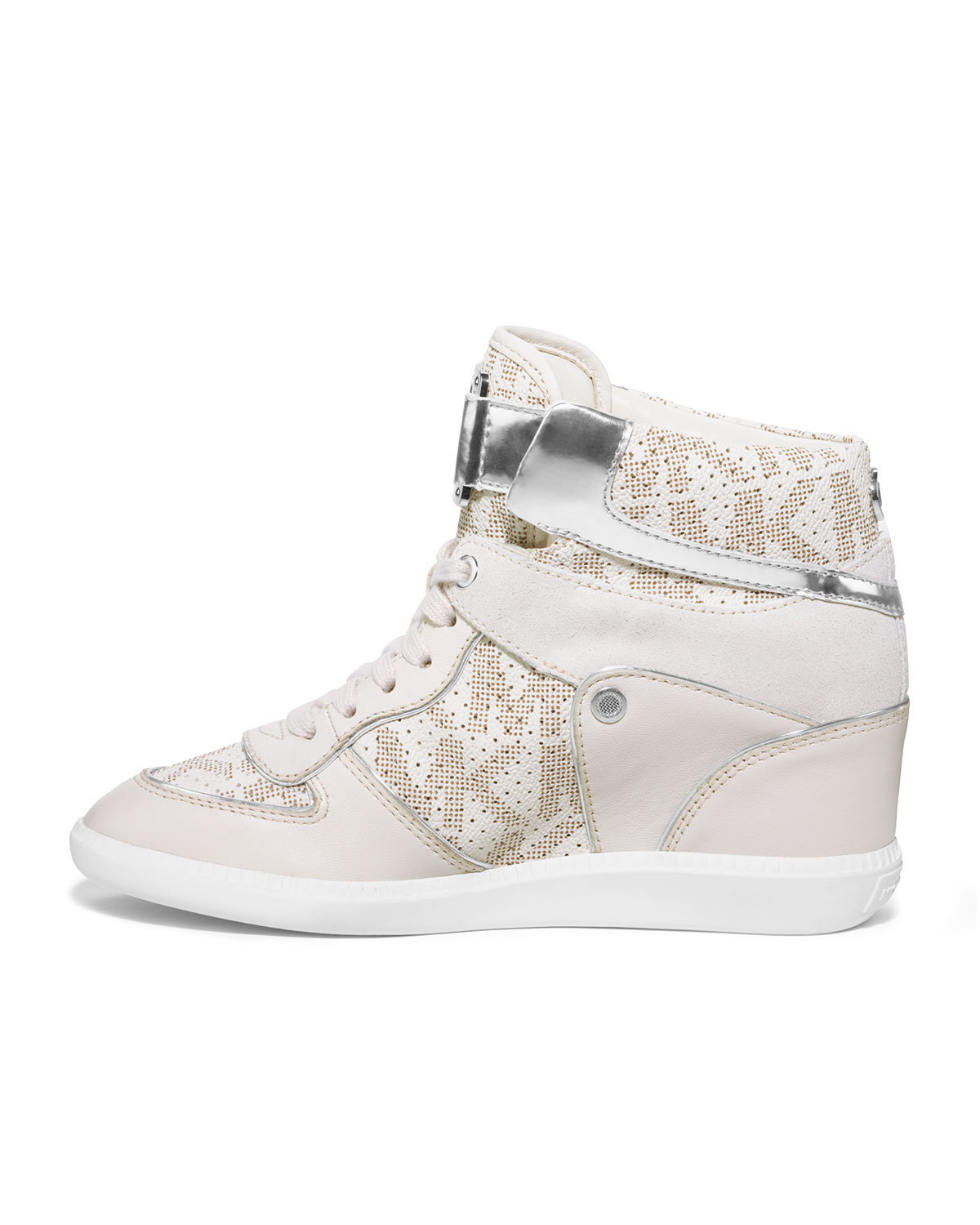 michael kors nikko high top sneaker in white lyst. Black Bedroom Furniture Sets. Home Design Ideas