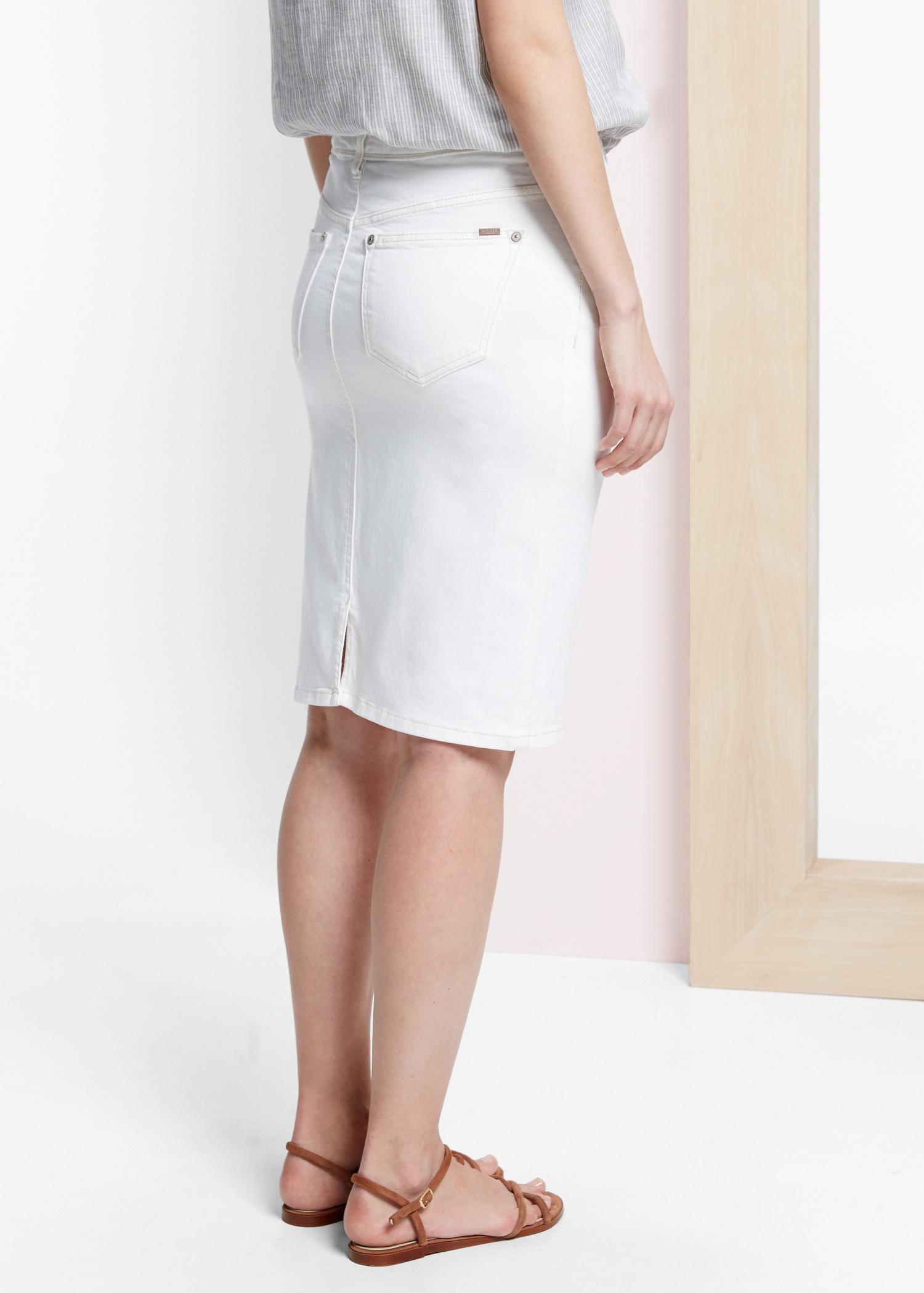 violeta by mango white denim skirt in white lyst