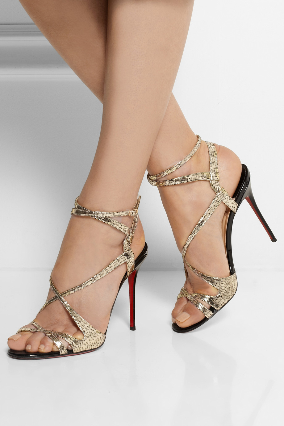 christian louboutin sandals Black suede and gold metallic leather ...