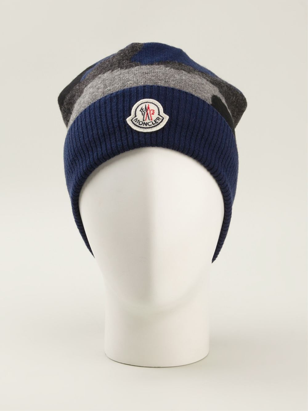 172af24553c Lyst - Moncler Camouflage Beanie in Blue for Men