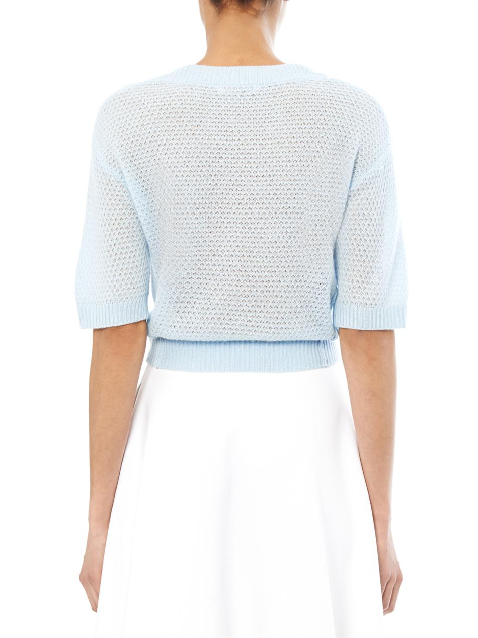 Rebecca taylor Text Cropped Cashmere Sweater in Blue | Lyst