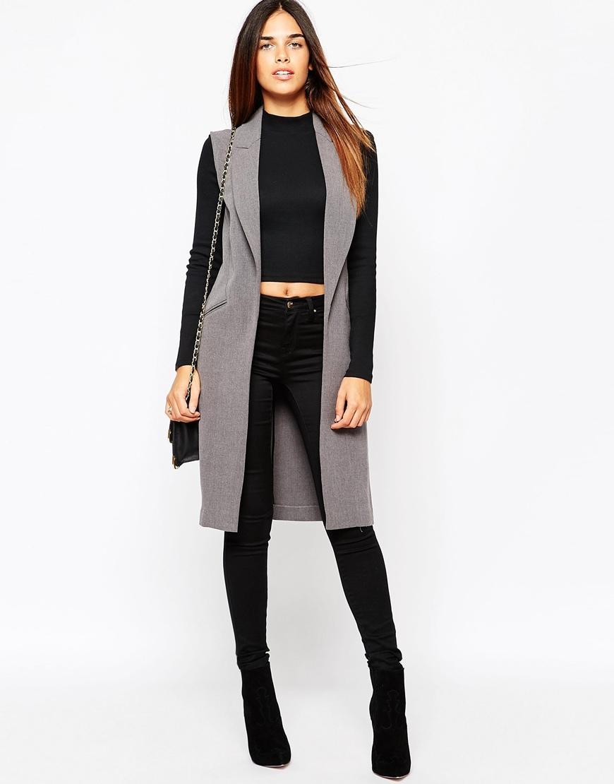 8373e478a76bd Lyst warehouse longline sleeveless jacket in gray jpg 870x1110 Grey  sleeveless coat