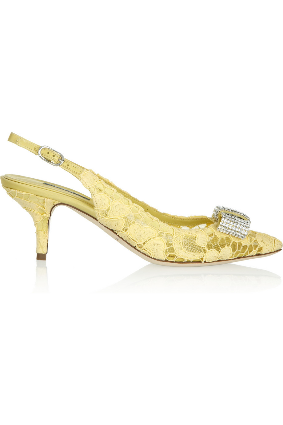 7f3ce755b29 Dolce   Gabbana Crystal-Embellished Lace Slingback Pumps in Yellow ...