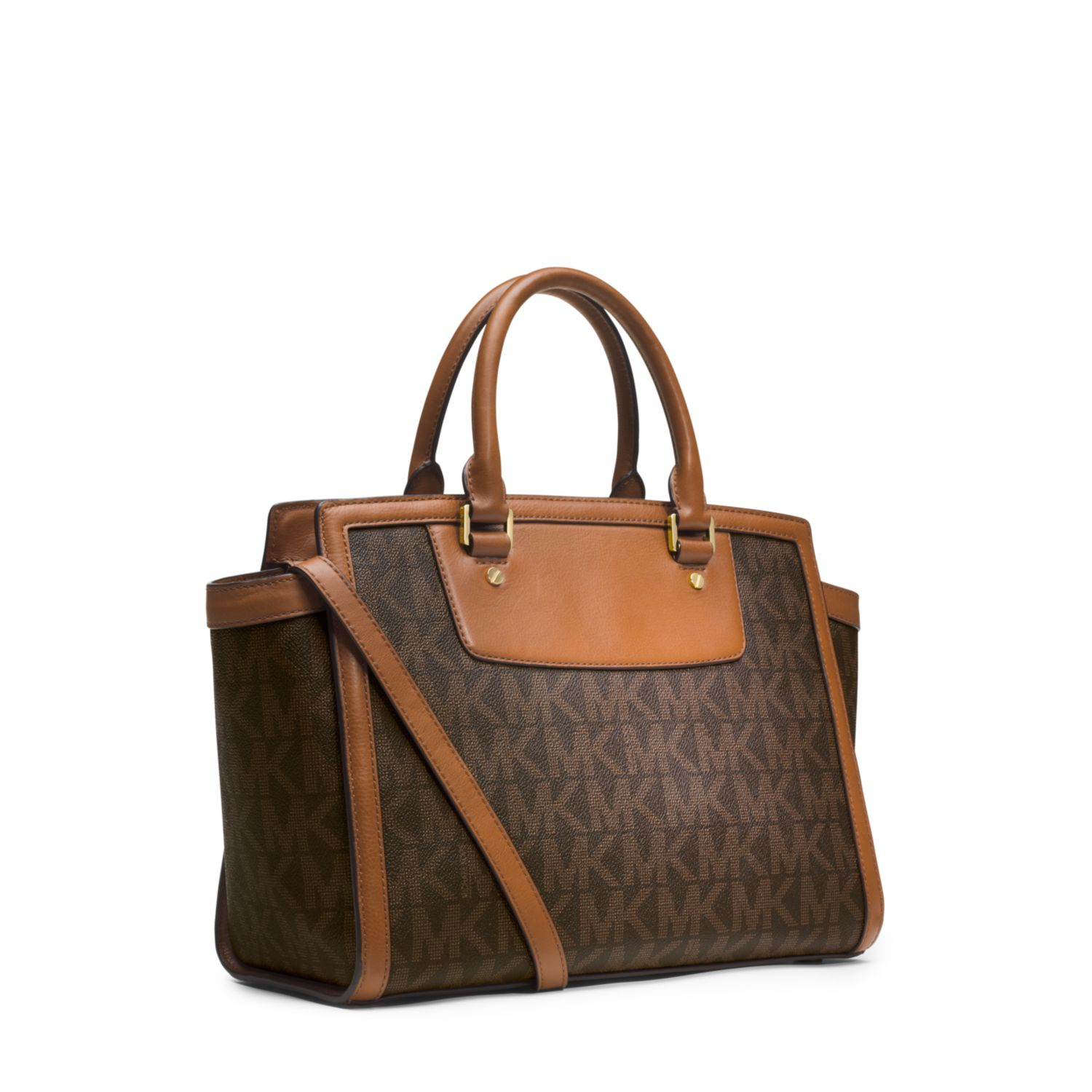 lyst michael kors selma logo large satchel in brown. Black Bedroom Furniture Sets. Home Design Ideas