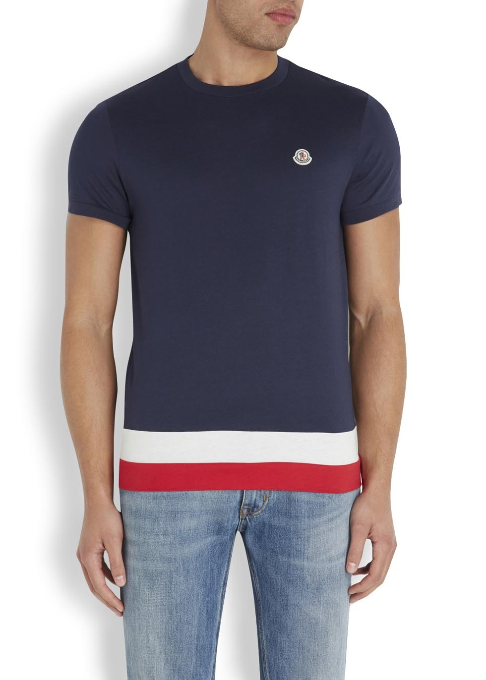navy blue moncler t shirt