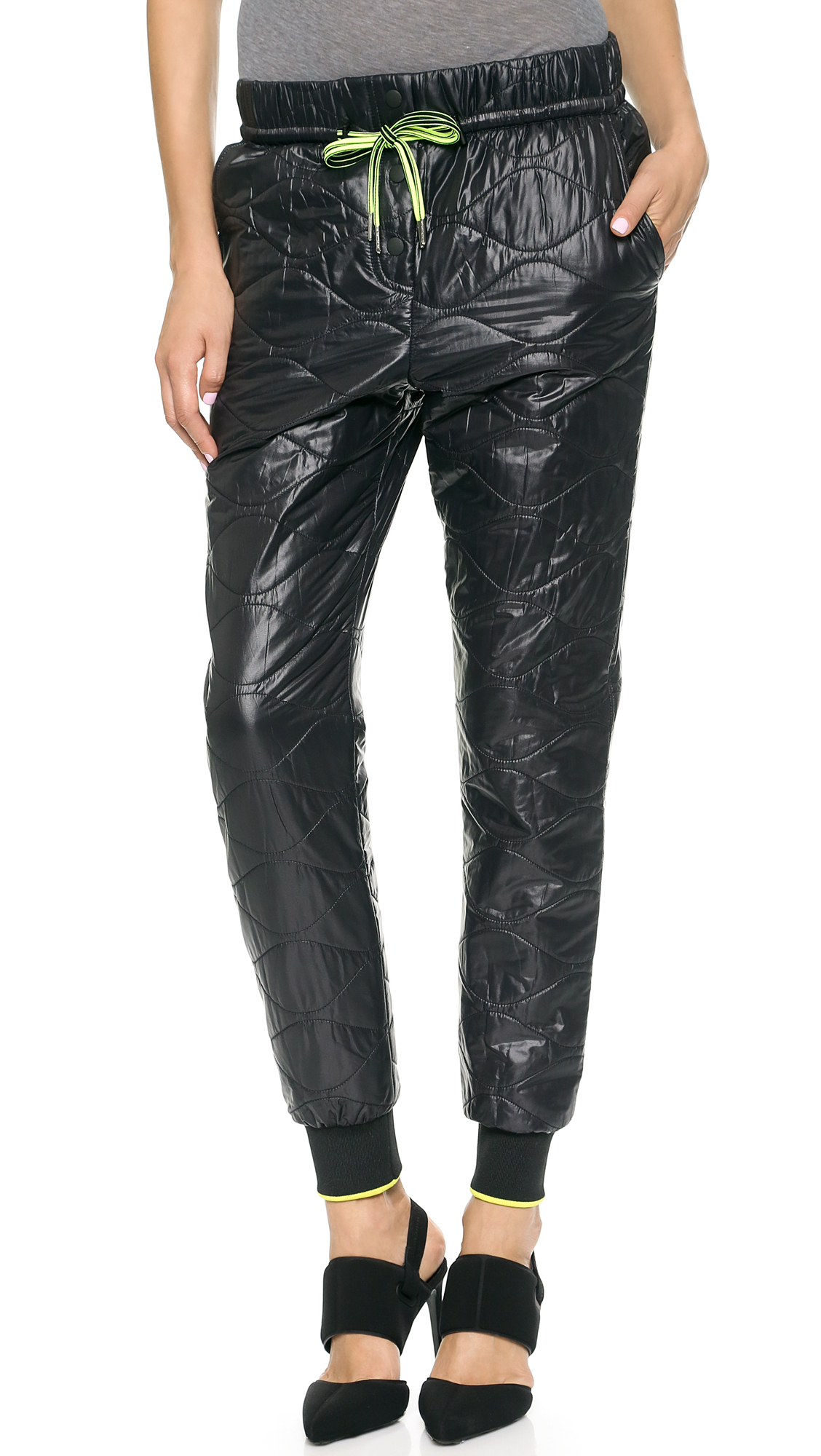 T By Alexander Wang Quilted Nylon Track Pants Black In
