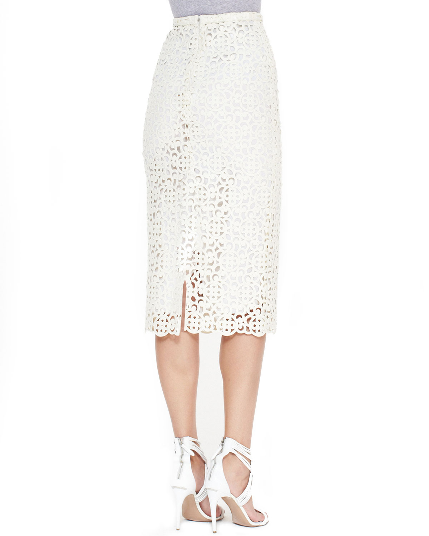 burberry prorsum white curlicue embroidered midi skirt