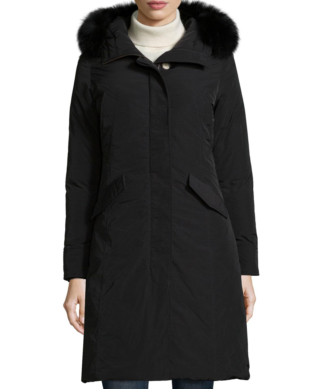 Woolrich Luxury Long Parka W/ Fur Hood in Black | Lyst