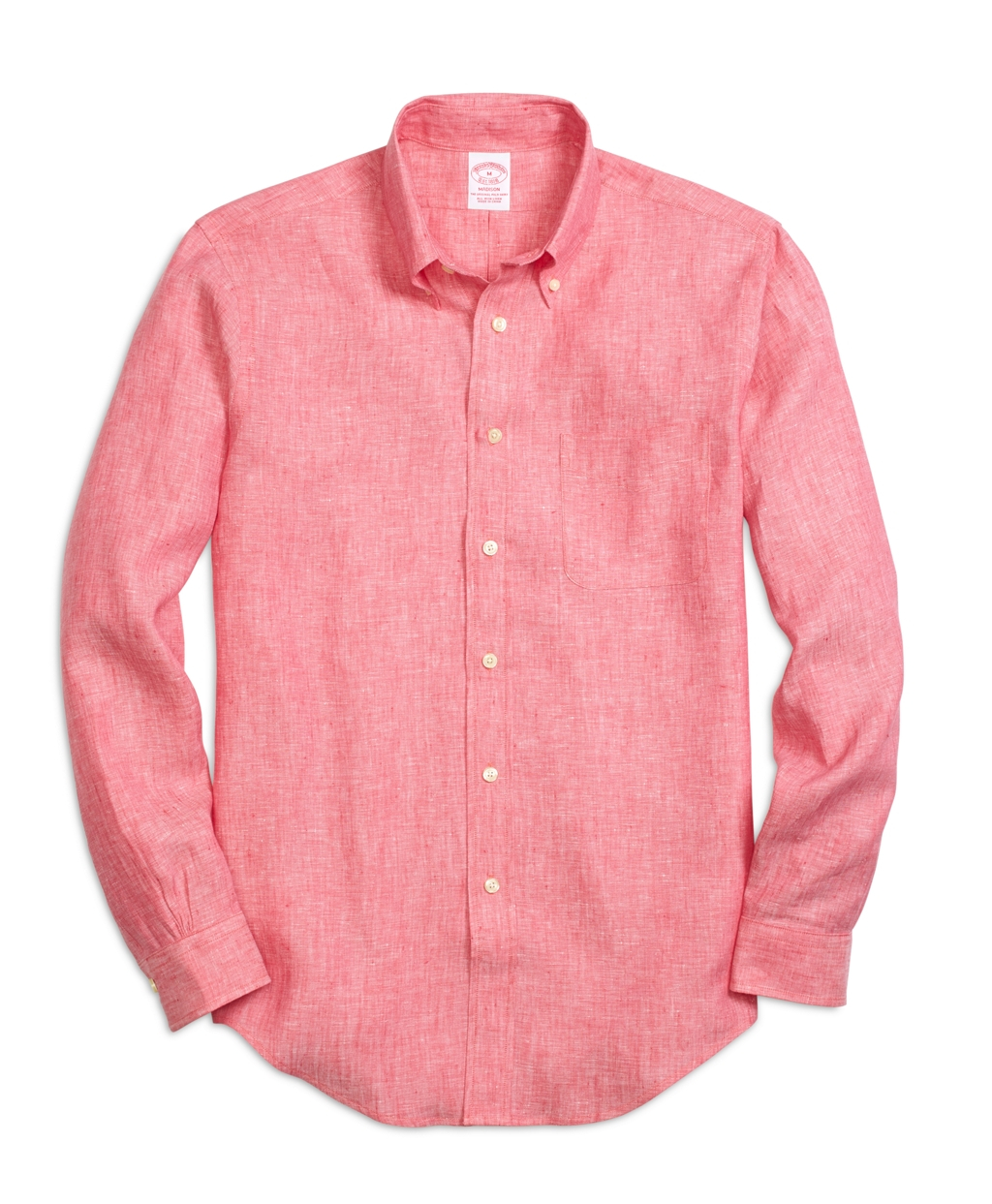 Brooks brothers regent fit linen sport shirt in pink for Brooks brothers shirt size guide