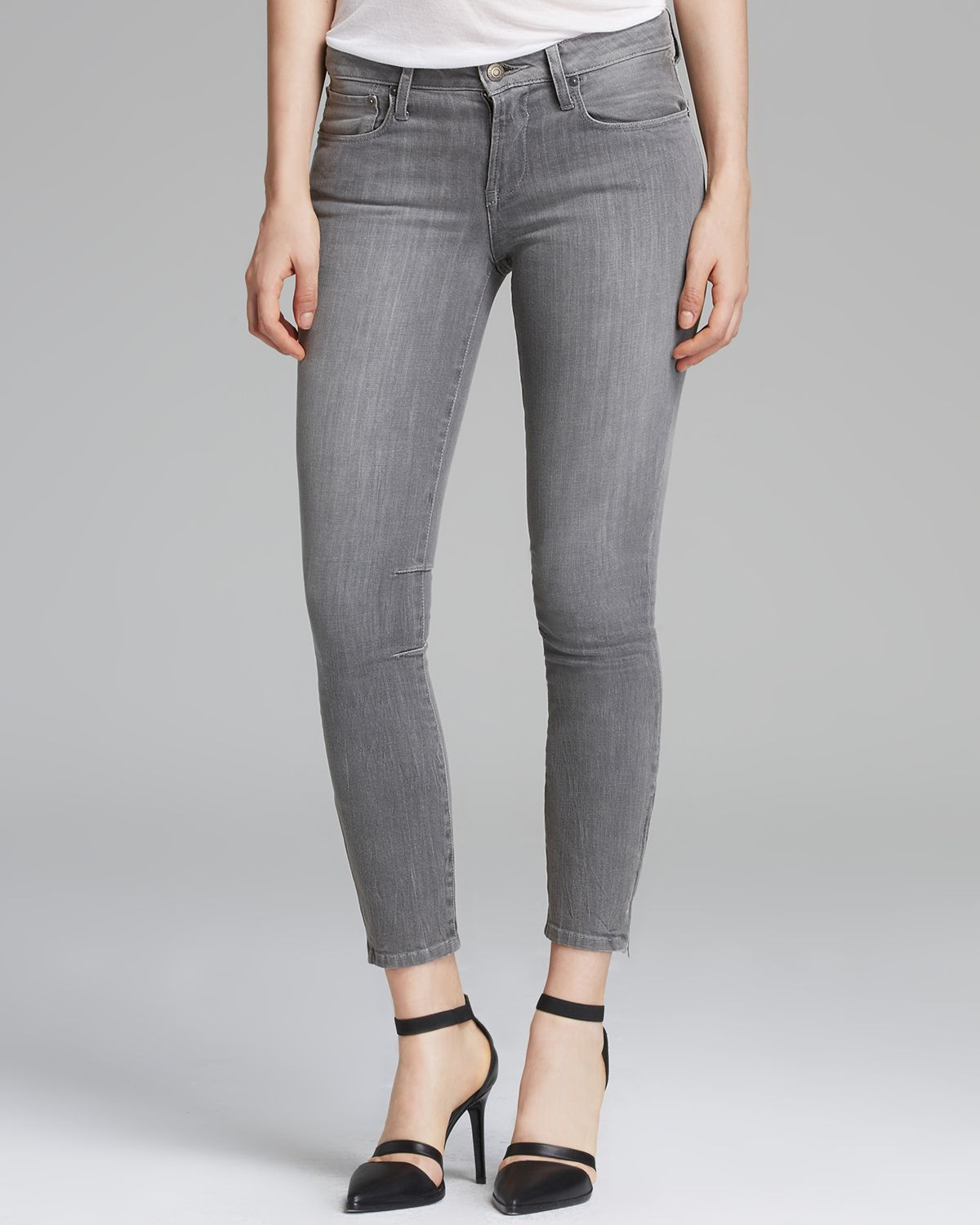 lyst  helmut lang jeans ash crop skinny in dark grey in gray