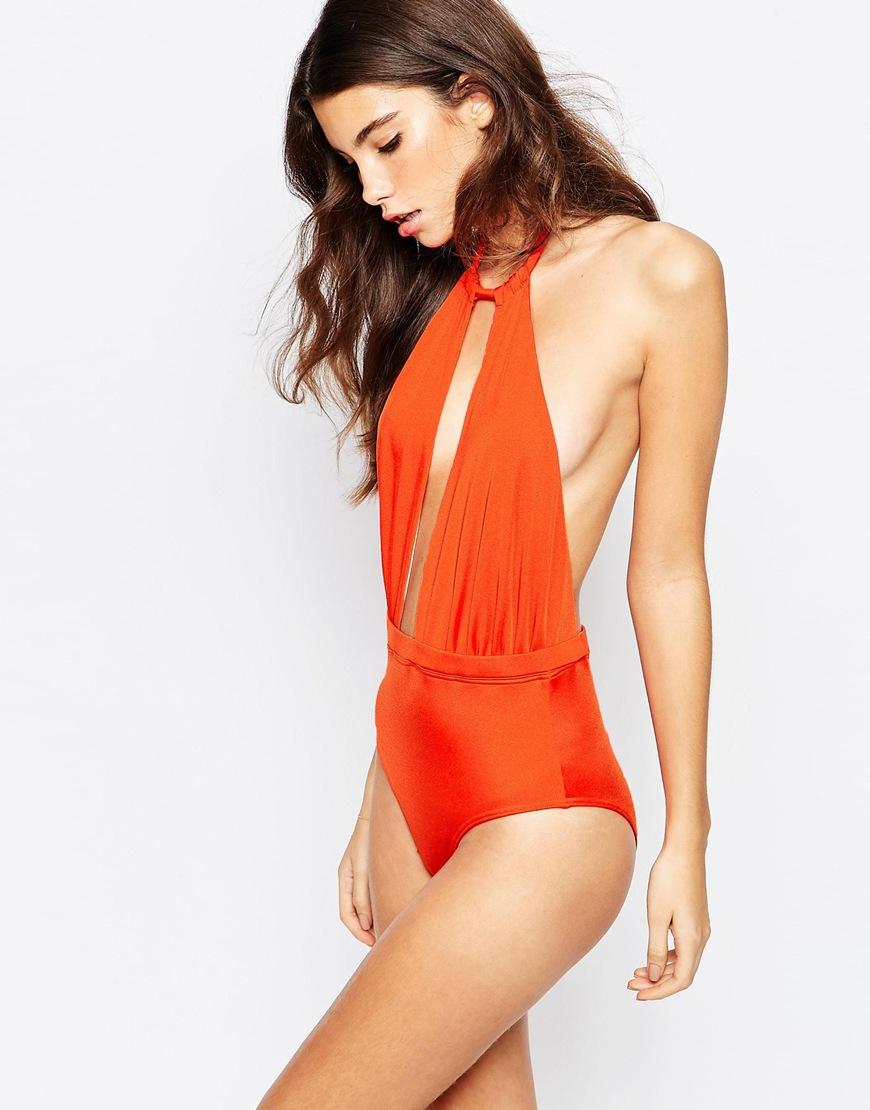 3366b6a4b4 Lyst - ASOS 70s Plunge Halter Swimsuit in Orange