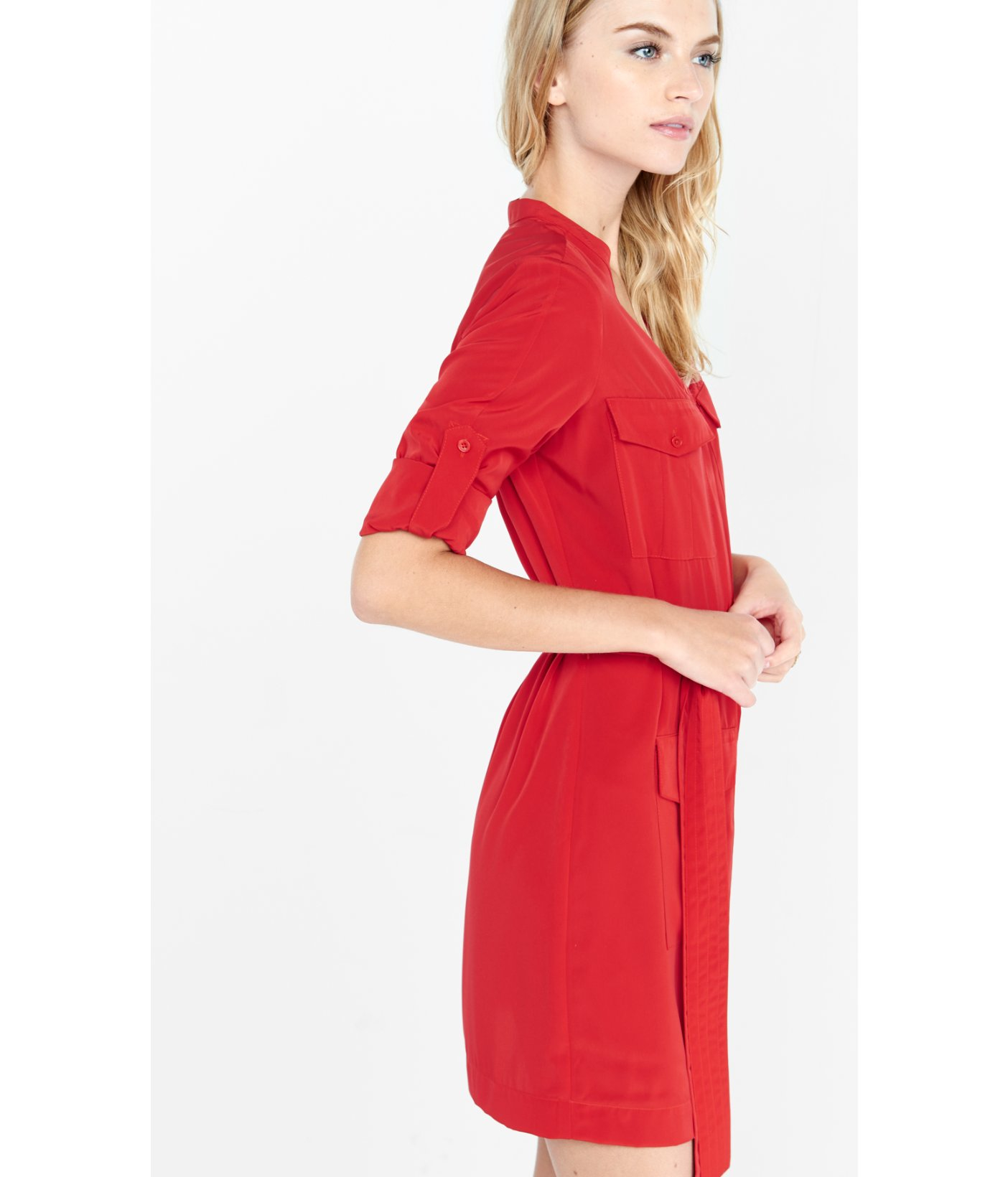 38878567798 Express Red Four Pocket Military Shirt Dress In Lyst