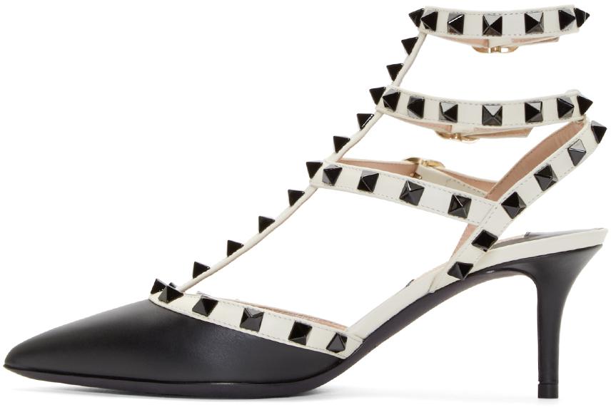 valentino leather rockstud kitten heels in black lyst