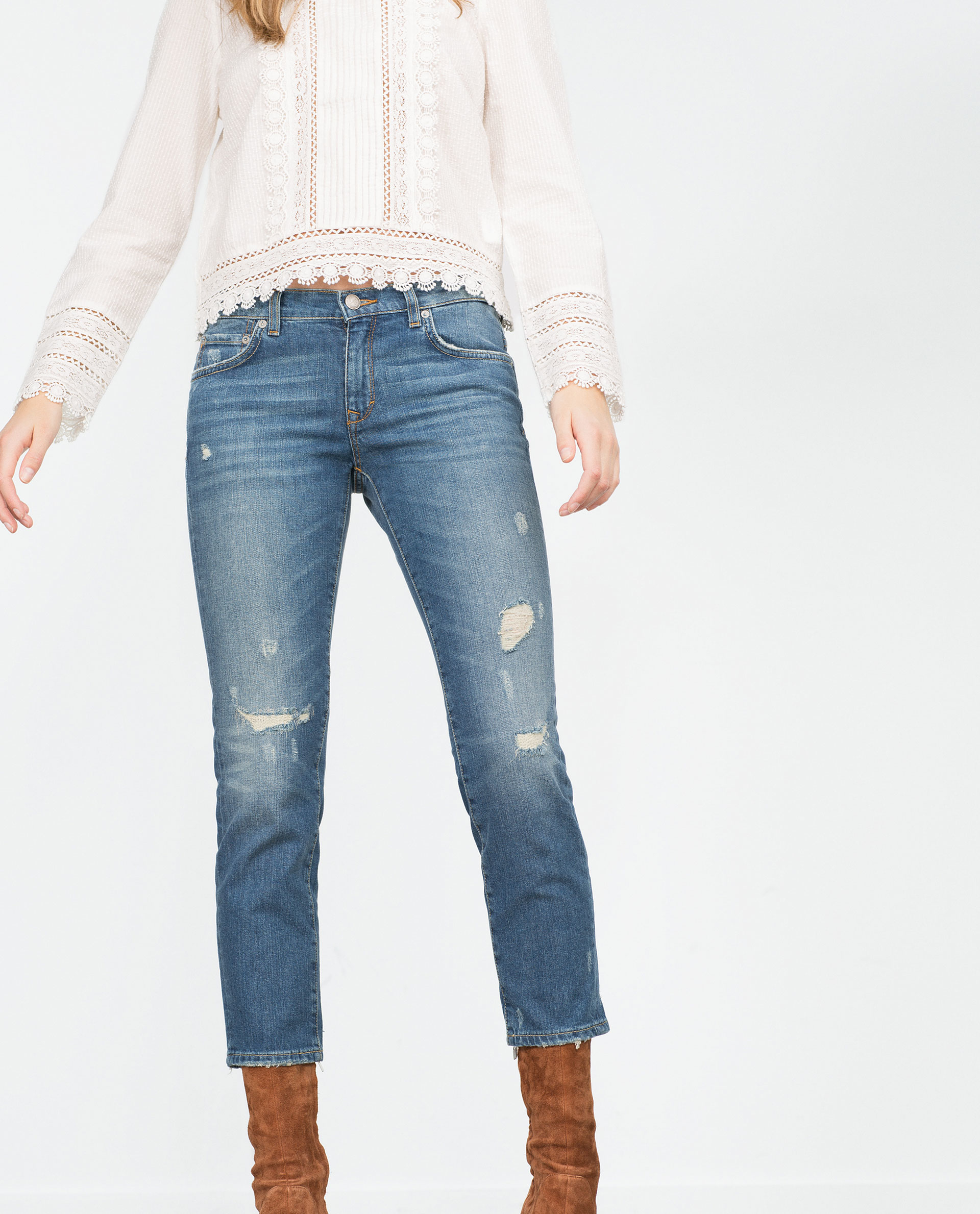 Zara Mid-rise Cigarette Jeans in Blue | Lyst